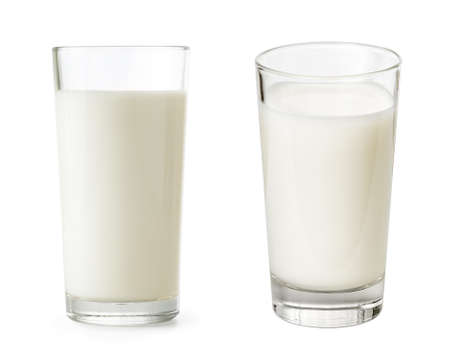 Photo pour Glass of milk set isolated with clipping path included - image libre de droit