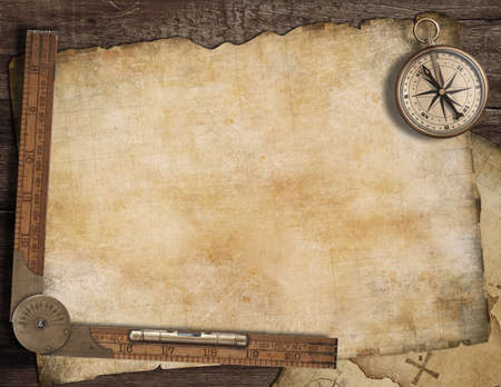 Photo pour Blank treasure map background with, old compass and ruler. Adventure concept. - image libre de droit