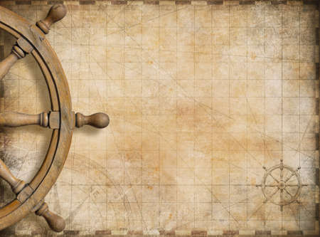 Photo pour steering wheel and blank vintage nautical map background - image libre de droit