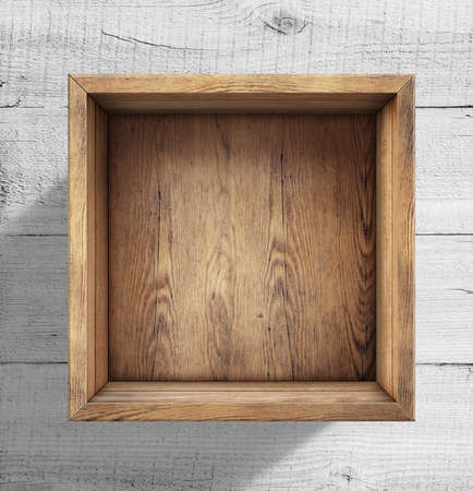 Photo pour Wooden box on white wood background - image libre de droit