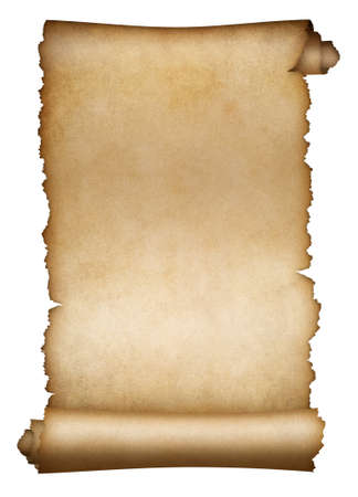 Photo pour Old scroll parchment or paper isolated on white - image libre de droit