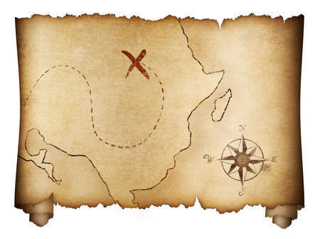 Photo pour Pirates' old treasure map roll isolated on white - image libre de droit