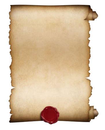 Foto de Old paper roll or manuscript with wax seal isolated - Imagen libre de derechos