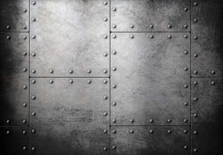 Photo pour old metal armour with rivets background - image libre de droit