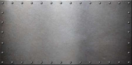 Photo pour old steel metal plate with rivets - image libre de droit