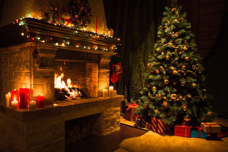Photo for Living room interior with decorated fireplace and christmas tree - Royalty Free Image