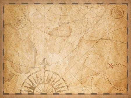Photo for old nautical hidden treasure map background - Royalty Free Image