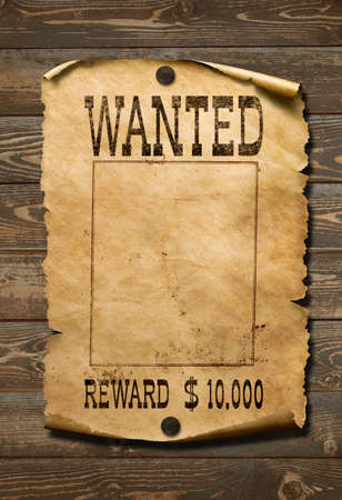 Photo for Wanted wild west poster on old wood wall - Royalty Free Image