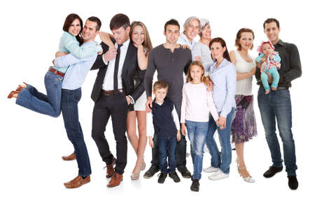 Foto de Several families with kids and couples. Isolated on white - Imagen libre de derechos