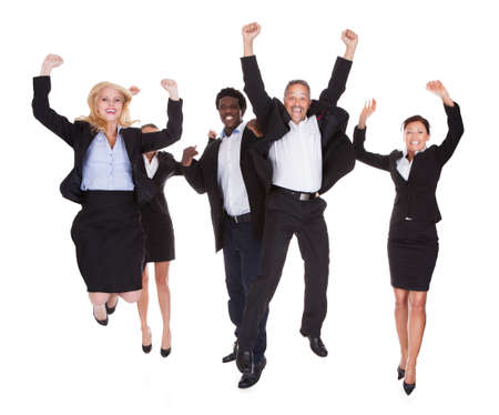 Photo for Multi-racial Group Of Business People Raising Arm Over White Background - Royalty Free Image