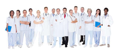 Photo for Group Of Smiling Doctors With Stethoscopes Over White Background - Royalty Free Image