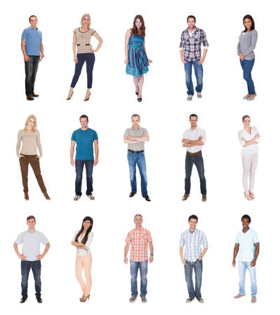 Happy Group Of People Dressed In Casual Standing isolated over white
