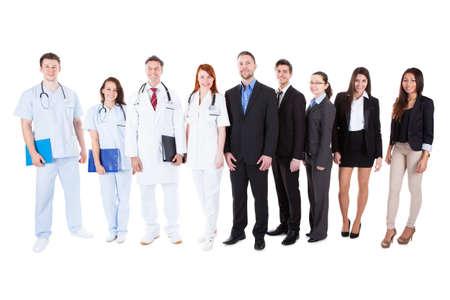 Foto de Large ground of doctors and managers over white background - Imagen libre de derechos