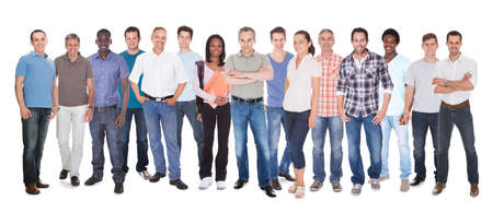 Diverse people in casuals standing against white background
