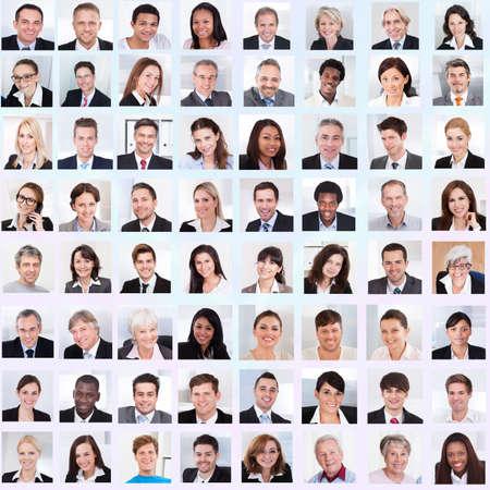 Photo pour Collage of diverse multiethnic business people smiling - image libre de droit