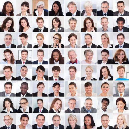 Photo pour Collage photo of multiethnic business people smiling - image libre de droit