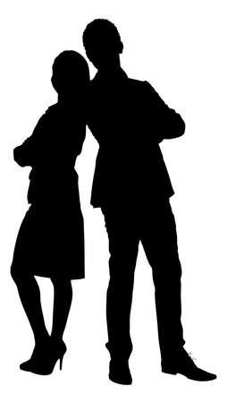 Ilustración de Full length of silhouette couple standing arms crossed against white background. Vector image - Imagen libre de derechos