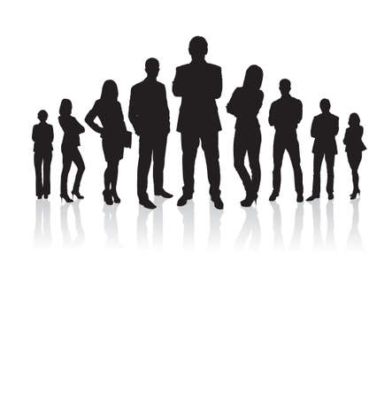 Full length of silhouette business people with arms crossed standing against white background. Vector image