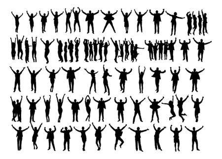 Ilustración de Collage of silhouette business people raising arms in victory over white background. Vector image - Imagen libre de derechos