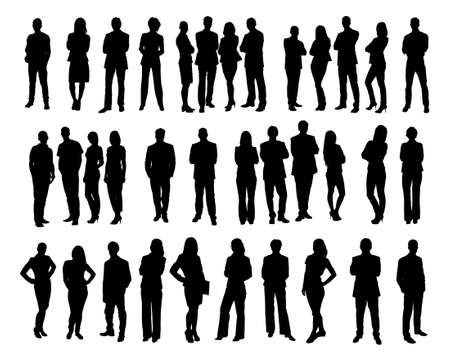 Illustrazione per Collage of silhouette business people standing against white background. Vector image - Immagini Royalty Free