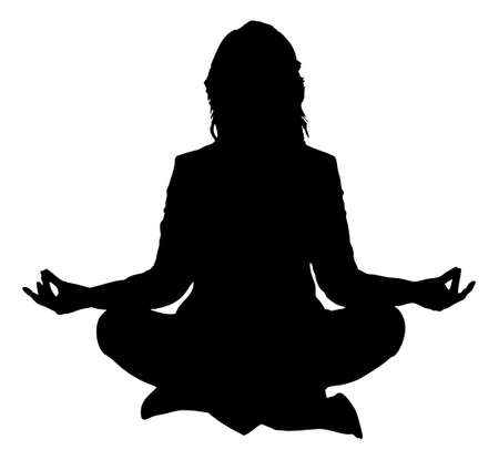 Illustration pour Full length of silhouette woman practicing yoga in lotus position against white background. Vector image - image libre de droit