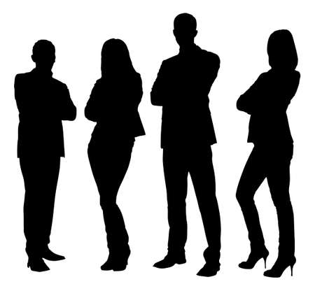 Illustrazione per Full length of silhouette business people standing with arms crossed against white background. Vector image - Immagini Royalty Free