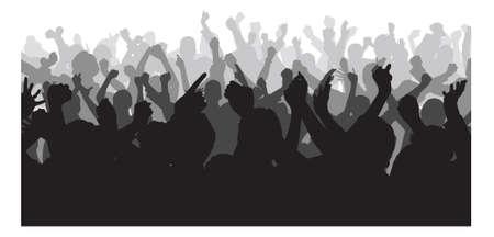 Illustration pour Silhouette crowd raising hands during concert over white background. Vector image - image libre de droit
