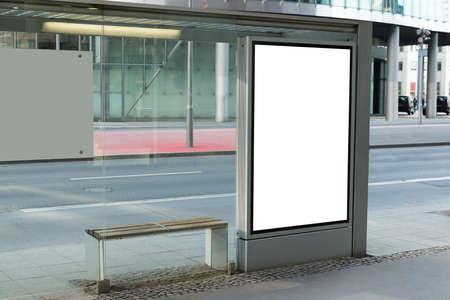 Foto de Blank Billboard On Bus Stop For Advertising In City - Imagen libre de derechos