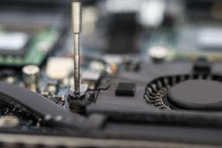 Foto für Close-up Of Person Hands In Glove Repairing Laptop Motherboard - Lizenzfreies Bild