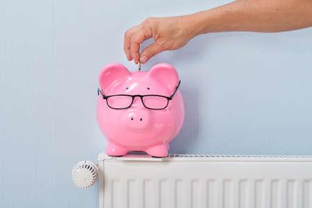 Foto de Close-up Of Ma's Inserting Coin In Piggy Bank Kept On Radiator - Imagen libre de derechos
