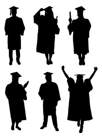 Illustration pour Vector Of Graduate Students Silhouettes. Vector Image - image libre de droit
