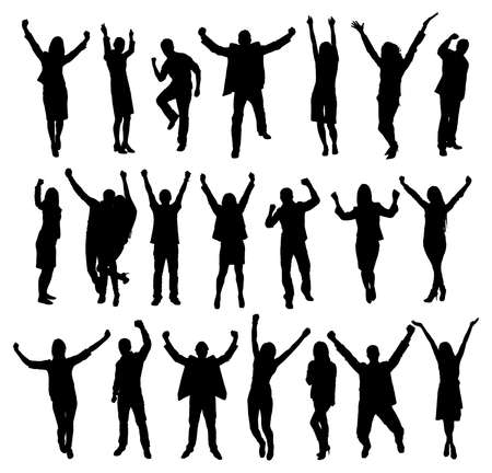 Illustrazione per Set Of Excited People Silhouettes. Vector Image - Immagini Royalty Free