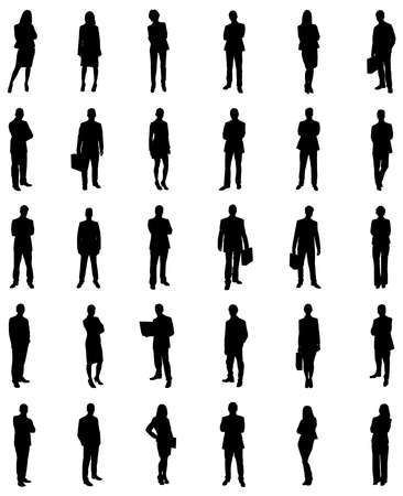 Illustrazione per Set Of Businesspeople Icons Silhouettes. Vector Image - Immagini Royalty Free