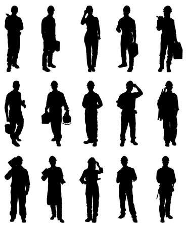 Photo pour Vector Illustration Of Workers Silhouettes Over White Background - image libre de droit