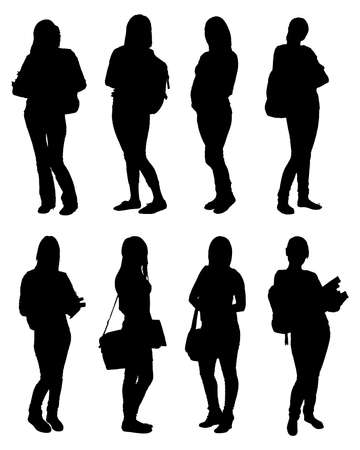 Illustration for Set Of Vector Students Silhouettes With Backpacks And Books. Vector Image - Royalty Free Image