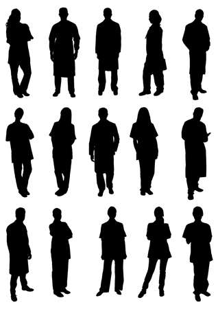 Illustration for Set Of Professional Doctors Silhouettes. Vector Image - Royalty Free Image