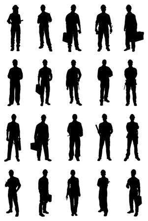 Photo pour Set Of People Silhouettes From Various Professions. Vector Image - image libre de droit