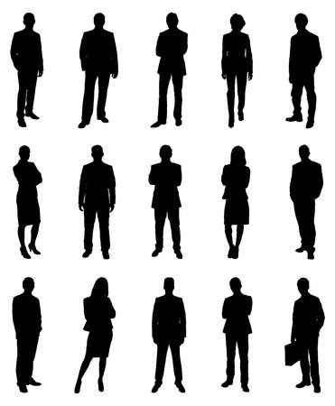 Illustration pour Collection Of Various Businesspeople Silhouettes. Vector Image - image libre de droit