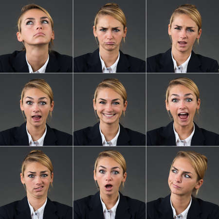 Photo pour Collage of businesswoman with different expressions over gray background - image libre de droit