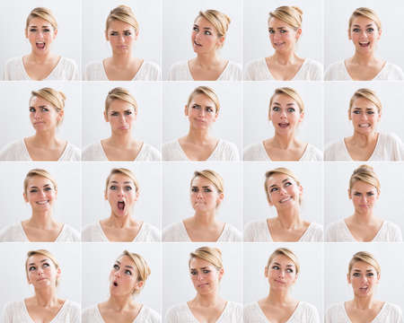 Photo pour Collage of young woman with various expressions over white background - image libre de droit
