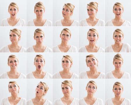 Foto de Collage of young woman with various expressions over white background - Imagen libre de derechos