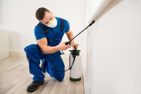 Foto de Male worker spraying pesticide on window corner at home - Imagen libre de derechos