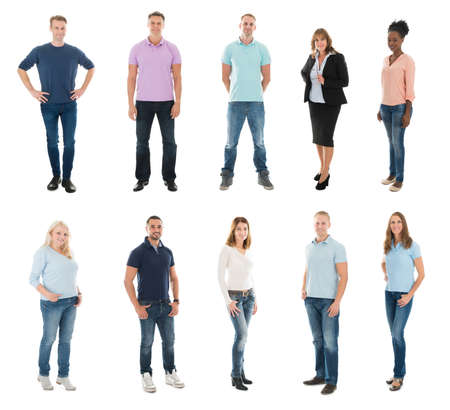 Photo for Set Of Happy Creative People Standing With Manager Against White Background - Royalty Free Image