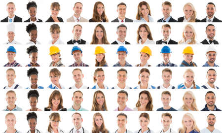 Collage Of Happy Multi Ethnic People With Various Profession Against White Background