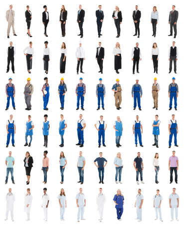 Photo pour Set Of People With Various Occupations Standing Against White Background - image libre de droit