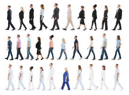 Photo pour Collage Of People From Different Occupations Walking In Line Against White Background - image libre de droit