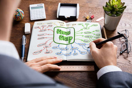 Foto de High Angle View Of Businessperson Drawing The Colorful Mind Map Flowchart In Notebook On Wooden Desk - Imagen libre de derechos