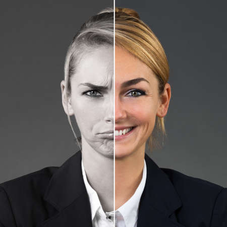Photo pour Two Side Face Of Young Woman Showing Different Emotions On Grey Background - image libre de droit