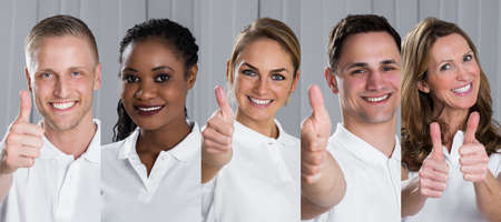Collage Of Smiling Multi-ethnic Young People Showing Thumb Up