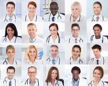 Photo for Collage Of Smiling Group Of Doctors With Different Multiethnic - Royalty Free Image